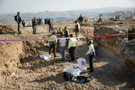 Bones, uniforms and helmets were found in the dig at Ramat Rachel