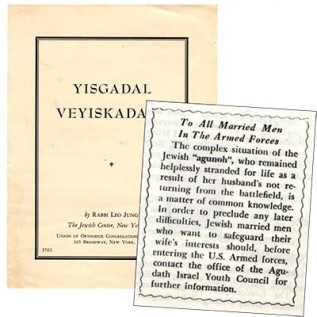 Left: Pamphlet regarding the importance of reciting Kaddish for the deceased, published by Dr. Jung, 1943 (Friedenson Collection, KHEC). Right: Orthodox Youth ad, 1943
