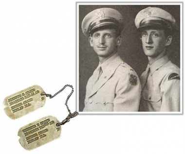 Right: Photo of Pvt. Albert Birnbaum (right) with his brother Lt. Meyer Birnbaum Left: Dog tags of Tech Sgt. Kenneth E. Graze (Bryan M. Rigg Collection, KHEC)