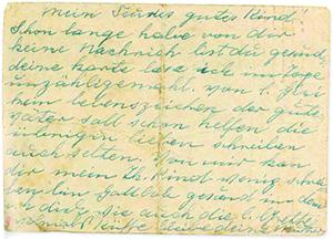 This postcard was sent in 1943 by Emilie Singer to her daughter, Margit, who was chosen to work as a secretary in Auschwitz-Birkenau's Gestapo office.