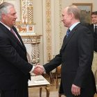 ExxonMobile Chairman and CEO Rex Tillerson meets with Russian Premier Vladimir Putin in 2012.