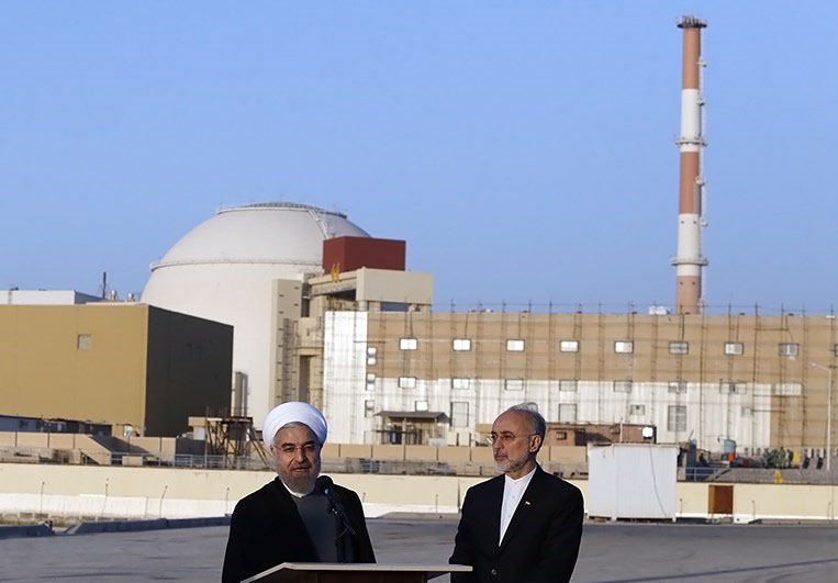 Iranian President Hassan Rouhani and Head of the Atomic Energy Organization of Iran Ali Akbar Salehi in Bushehr Nuclear