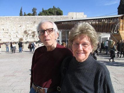 Victor and Nelda Rousso visit the Western Wall on their 65th wedding anniversary.