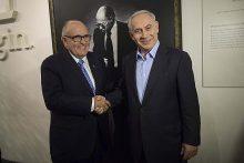 Former New York Mayor Rudy Giuliani with Israeli Prime Minister Benjamin Netanyahu at a tour in Menachem Begin Heritage Center in Jerusalem on Feb. 2, 2015.