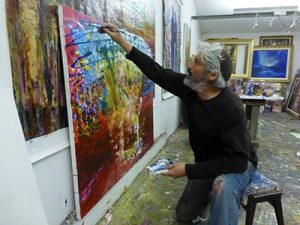 """Bishvili means """"for me."""" There is a famous verse that says """"Bishvili nivra ha'olam, The world was created for me."""" Bishvili also means """"for my path."""" In the paintings, subtle pathways, like rays, lead to an abstract sanctuary. The philosophy of Judaism is that the Jewish people are all connected to a common goal and vision. If each one of us fixes our own pathway, then the world will be rectified and our Sanctuary manifested – tikkun olam."""