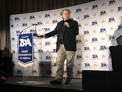 Steve Bannon addressing the ZOA dinner.