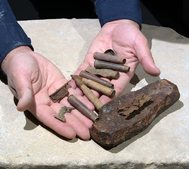 Some of the bullets, cartridges and shell fragments found at the site. Photographic credit: Clara Amit, Israel Antiquities Authority.