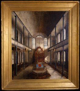 Solomon Nunes Carvalho: Kahal Kadosh Beth Elohim, Interior, 1838. Oil on canvas.