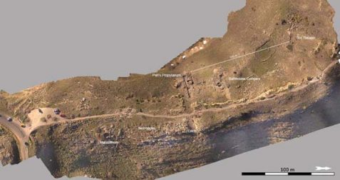 The Sussita saddle-ridge area which leads towards the city itself and the areas of excavation along it.