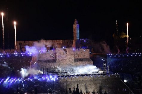 The Tower of David, alight in blue and white for the 50th anniversary of the reunification of the holy city of Jerusalem. May 21, 2017