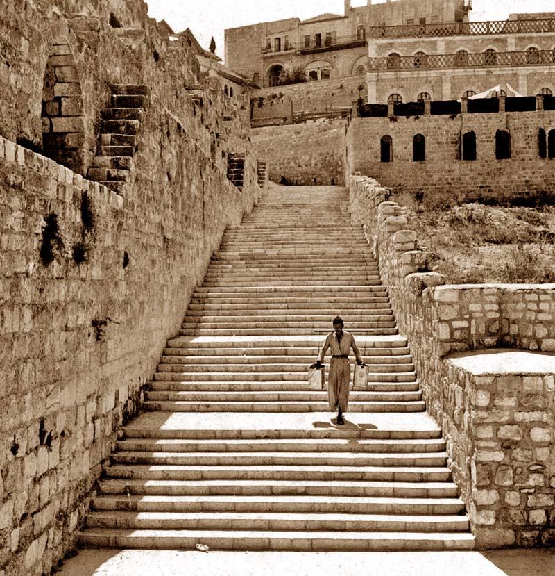 The staircase built by the British for Jews going to the Kotel from the Jewish Quarter / Photo credit: Tamar Hayardeni via Pinterest