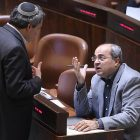 Joint Arab List faction MK Ahmed Tibi in the Knesset (seated)