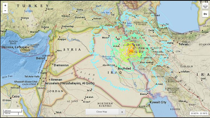 Death toll rising hundreds injured in iran iraq earthquake the usgs map of iraq iran gumiabroncs Image collections