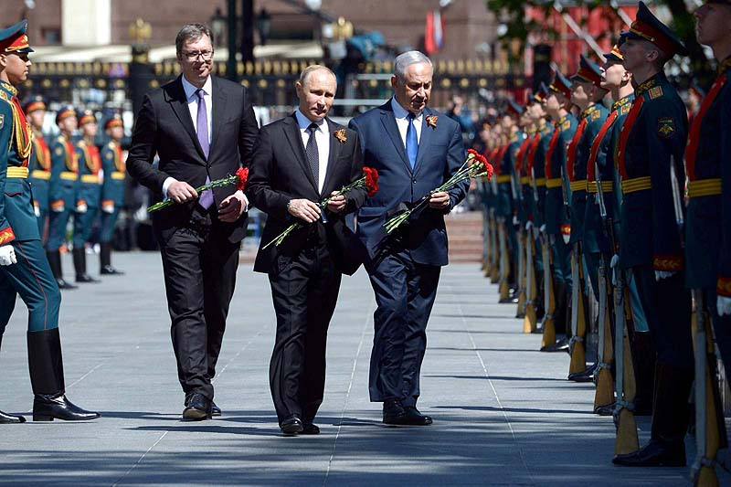 PM Netanyahu Attends Victory Day Parade in Moscow Along with Russian President Vladimir Putin and Serb President Aleksandar Vucic