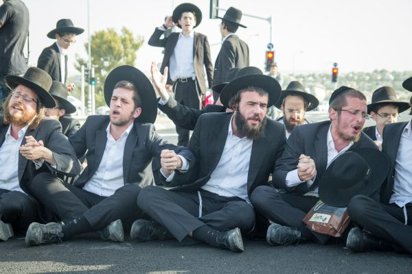 Hundreds of Israeli ultra-Orthodox Jews protest army draft
