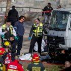 Zaka members on scene of the fatal terrorist attack in Jerusalem which murdered four soldiers on Jan 8 2017