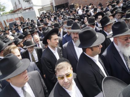 Some of the mourners at Rabbi Zlotowitz's levayah.