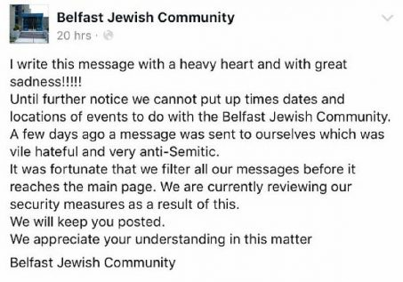 Notice from Belfast Jewish Community about security measures.