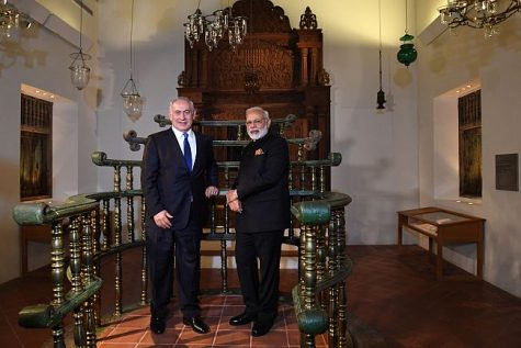 Israel's Prime Minister Benjamin Netanyahu India's Prime Minister Narendra Modi view a reconstructed Jewish synagogue from India at the Israel Museum July 5 2017