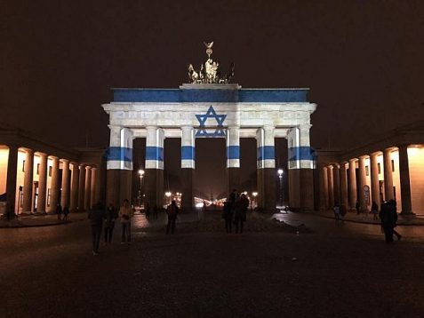 Israeli flag lights up the famed Brandenburg Gate in Berlin, in solidarity with four IDF victims of  terror in Jerusalem.