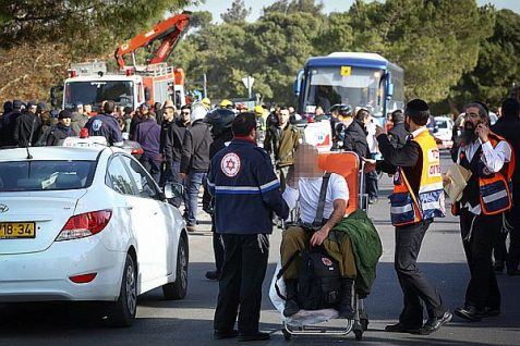 Evacuating the injured after a massive truck ramming attack in the Armon HaNatziv neighborhood of Jerusalem. (Jan. 8 2017)