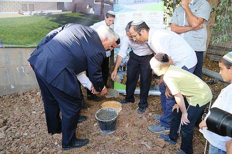 US Ambassador David Friedman helps lay the cornerstone for a new dormitory at Max and Ruth Schwartz Yeshivat Sderot Hesder Yeshiva