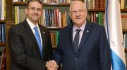 "US Ambassador to Israel Daniel Shapiro, Israel President Reuven Rivlin shake hands ""farewell"" in Jerusalem at the official Presidential Residence"