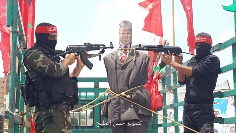 Gaza Strip Arabs hanged President Trump in Effigy.