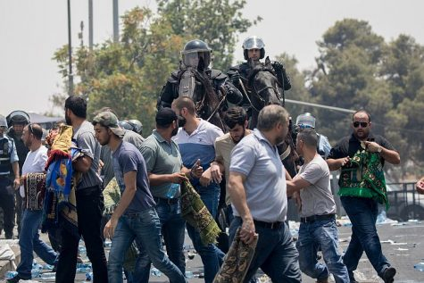 Israel Mounted Police dispersing a crowd of rioting Arabs in Jerusalem on Friday, July 21, 2017