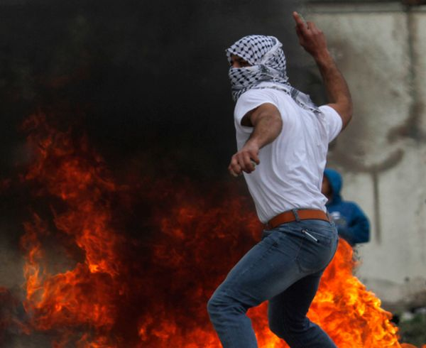 Palestinian Authority Arabs clash with Israeli security forces near the Samaria city of Nablus