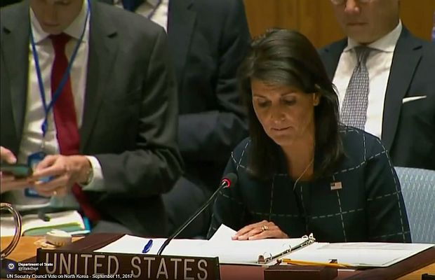 US Ambassador to the UN Nikki Haley addresses Security Council session on North Korea Sept. 11 2017 vote on increased sanctions passes unanimously