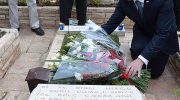 Police President Andrzej Duda places bouquet of flowers on grave of Yoni Netanyahu at Mt. Herzl military cemetery in Jerusalem