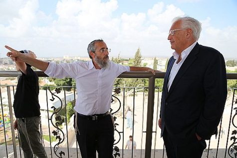 Rabbi Duv Fendel points out to US Ambassador David Friedman, the apartment buildings under construction in the distance in 'Greater Sderot.' The two were former classmates in their youth.