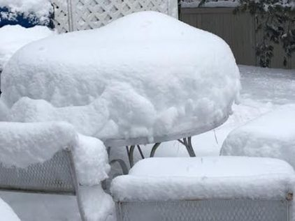 Snow storm blanketing the metro west Boston area became a double quilt!
