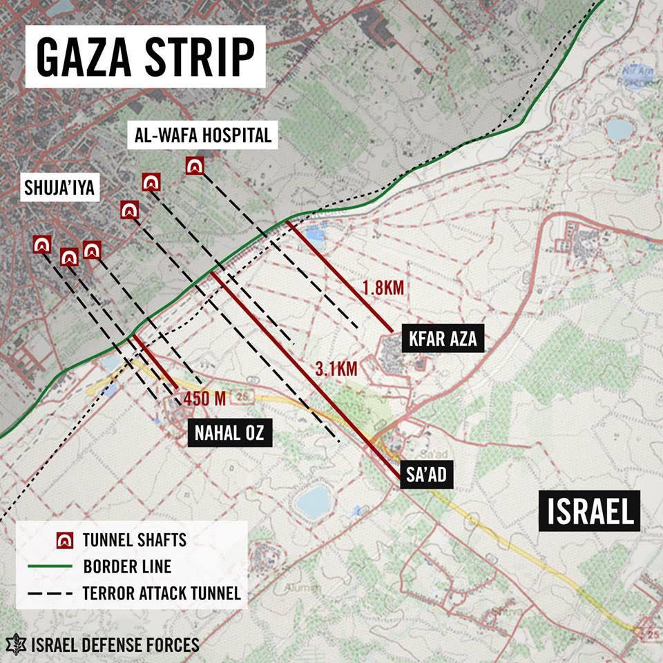 Map of terror tunnels from Gaza